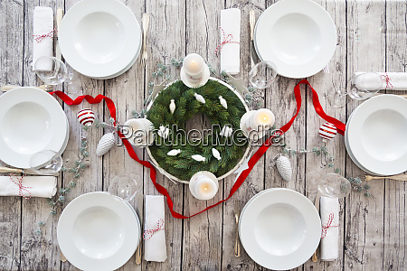 laid table with advent wreath and