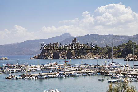 sicily cefalu harbour and castle ruin