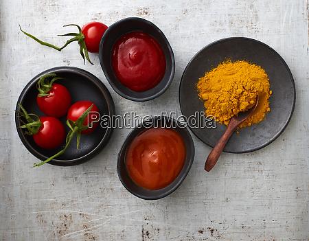tomatoes curry powder chili ketchup and