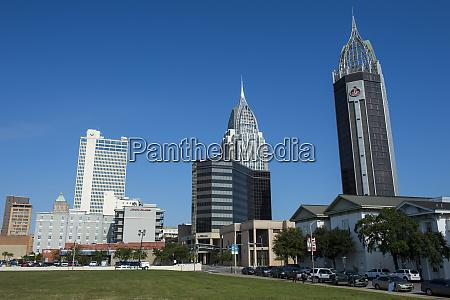 usa alabama skyline of downtown mobile