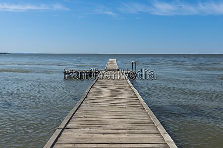 ukraine wooden jetty at the bilhorod
