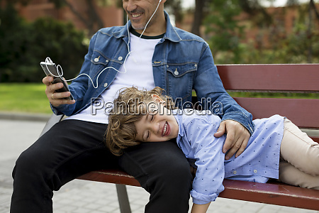 happy father with son on a