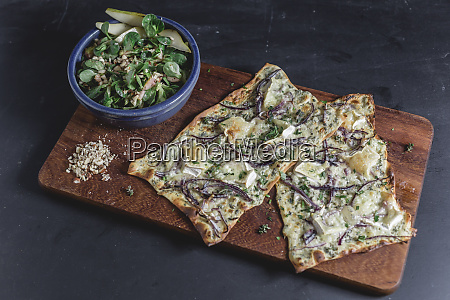 tarte flambee with camembert and thyme