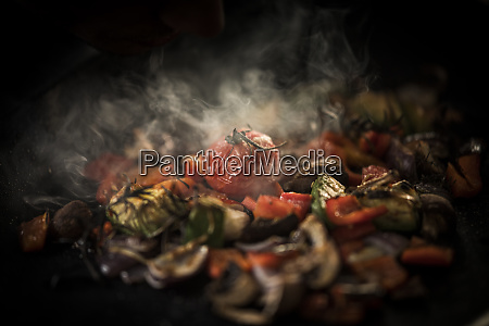 fried vegetables with herbs