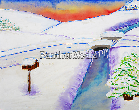 childrens painting of winter landscape