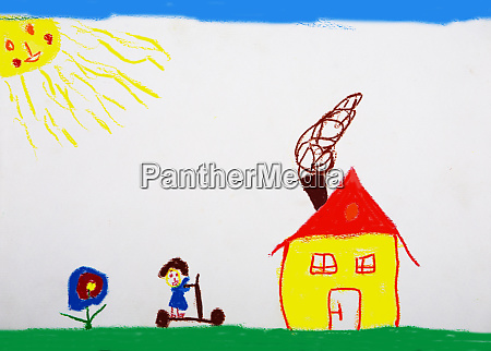 childrens drawing of meadow with house