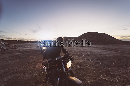 spain madrid man with motorcycle and