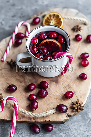 mug of mulled wine with cranberries