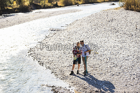 austria alps couple on a hiking
