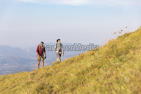 italy monte nerone two men hiking