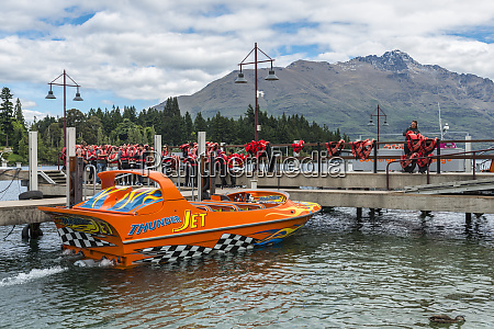 tourists waiting for the jet boat