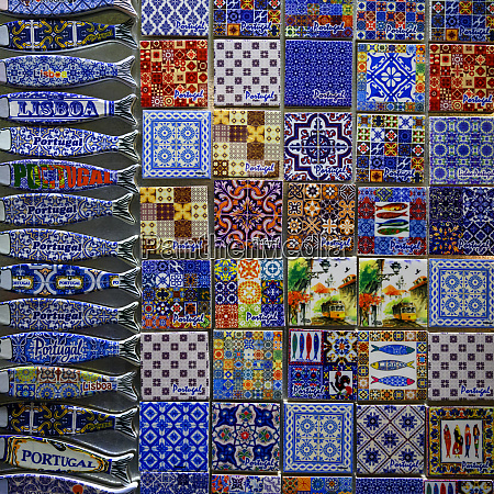 colourful souvenir magnets on display lisbon