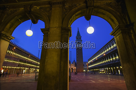 saint marks square at dusk with
