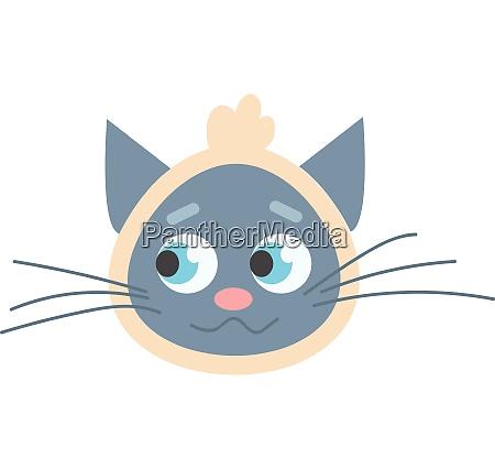 blue cat with scarf headband illustration