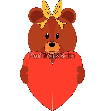 girl bear with head bow holding