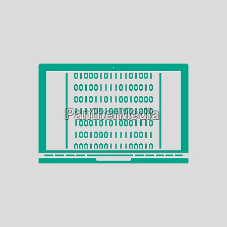 laptop with binary code icon