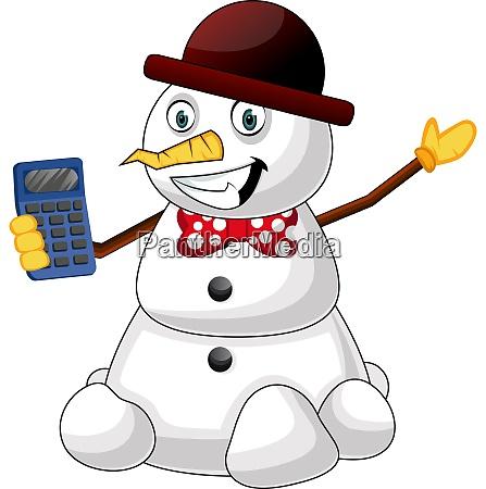 snowman with digitron illustration vector on