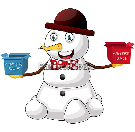 snowman winter sale illustration vector on