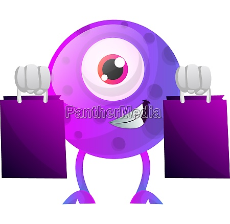 purple monster with shopping bags illustration