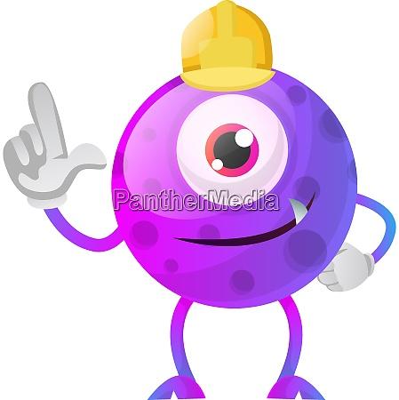construction worker purple monster illustration vector