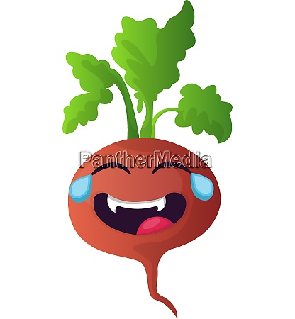 red turnip is crying with laughter