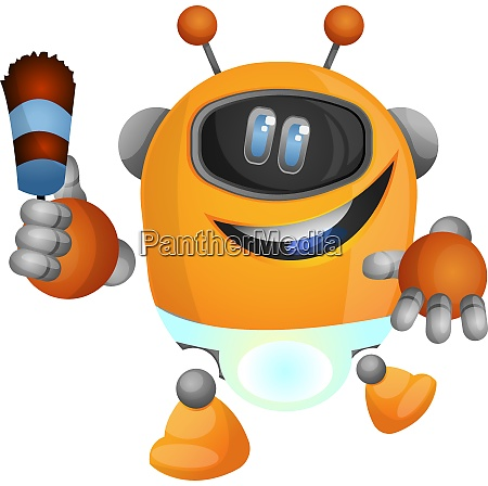 housekeeping robot illustration vector on white