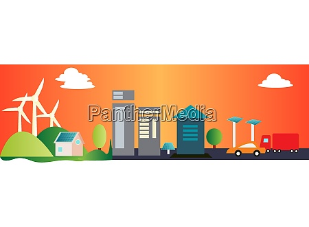 city landscape with windmills in the