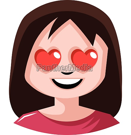 girl with heart shaped eyes illustration