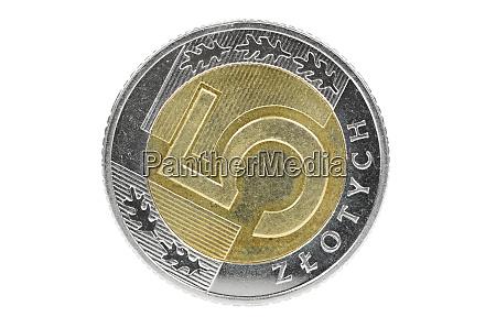 closeup of 5 polish zloty coin