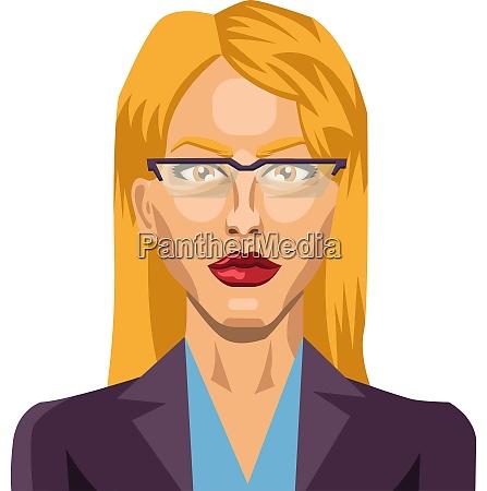 blonde girl with glasses illustration vector