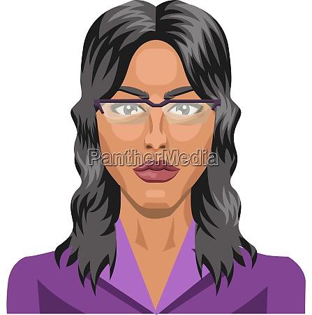 long haired girl wearing glasses illustration