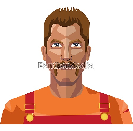 worker with mustaches illustration vector on
