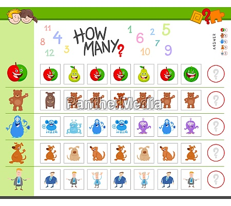 counting task with cartoon characters