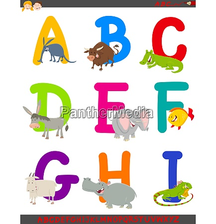 cartoon alphabet with animal characters