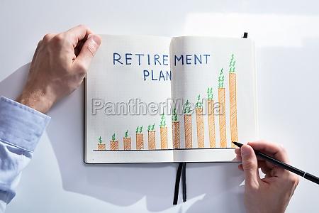 human hand drawing retirement plan growth