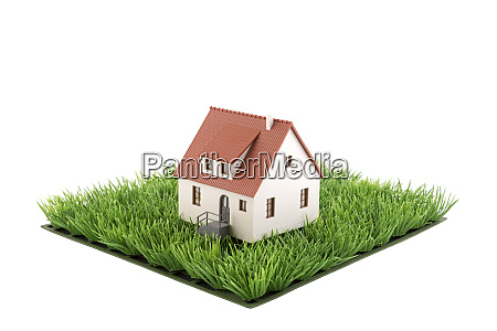 house miniature on square of green