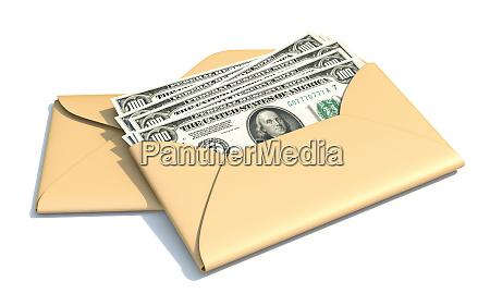 dollars in envelope 3d
