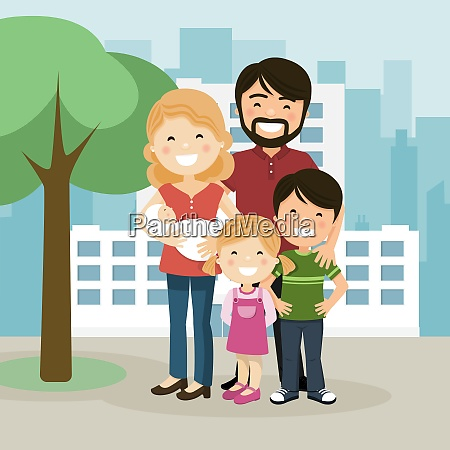 happy family with parents children and