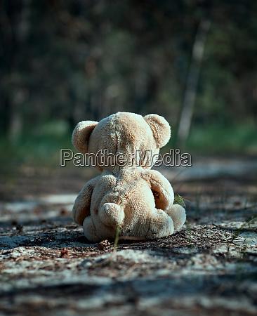 brown teddy bear sits back in