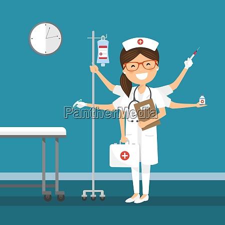 nurse multitasking at the hospital