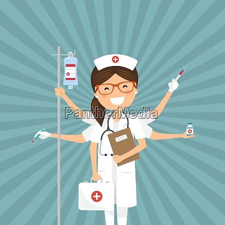 nurse multitasking on a retro background