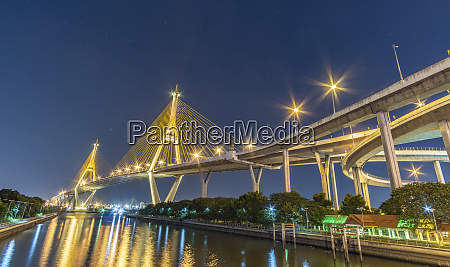 bhumibol bridge chao phraya river bridge