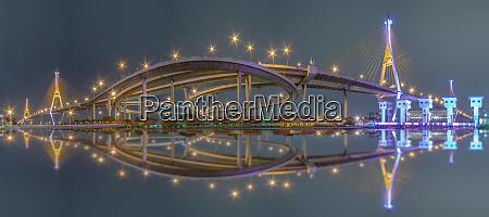 pnorama bhumibol bridge chao phraya river