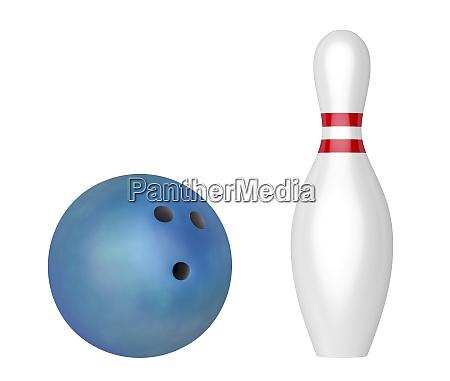 blue bowling ball and pin