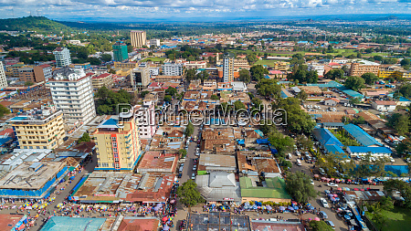 aerial view of the city of