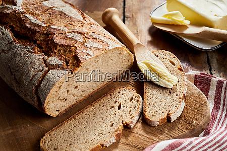 crusty loaf of freshly baked rye