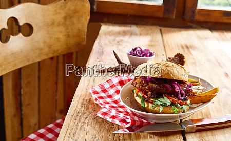 tasty speciality venison beef burger with