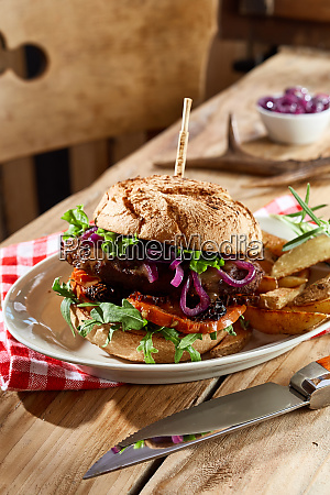 speciality wild venison burger on a