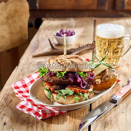 wild venison burger served for a