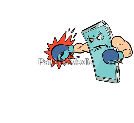 smartphone boxer character internet aggression in